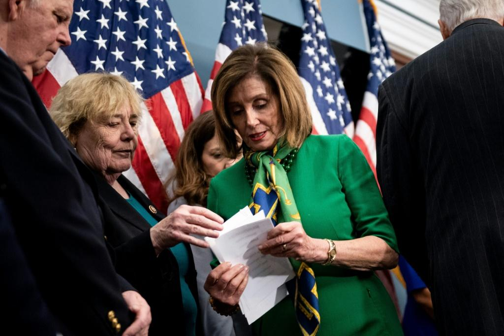 Speaker of the House Nancy Pelosi Democrat leader Nancy Pelosi is expected to forward impeachment charges against Trump to the Senate, launching his historic trial for abuse of power