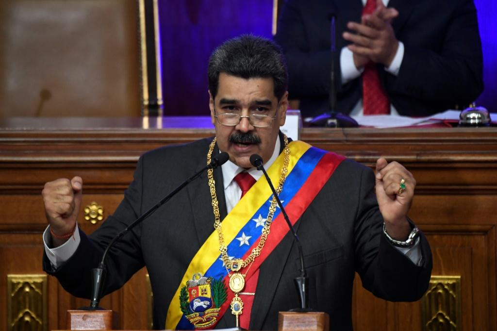 Venezuelan President Nicolas Maduro gestures during an address to the Constituent Assembly in Caracas