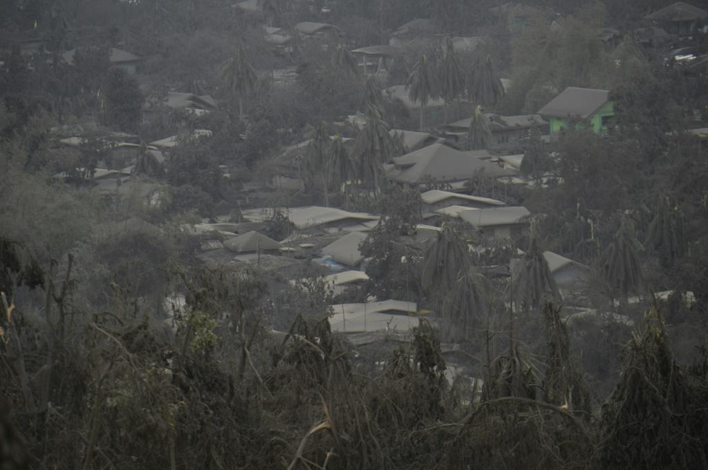 Houses in Laurel town have been covered with mud and ash from the Taal volcano in the Philippines