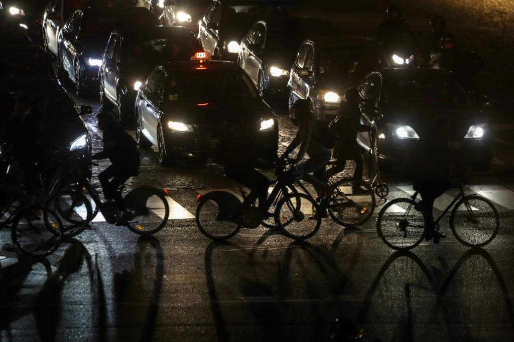 The strike has left the streets of Paris even more congested than usual, with thousands left no choice but to drive, cycle or walk to work with metro and train lines closed