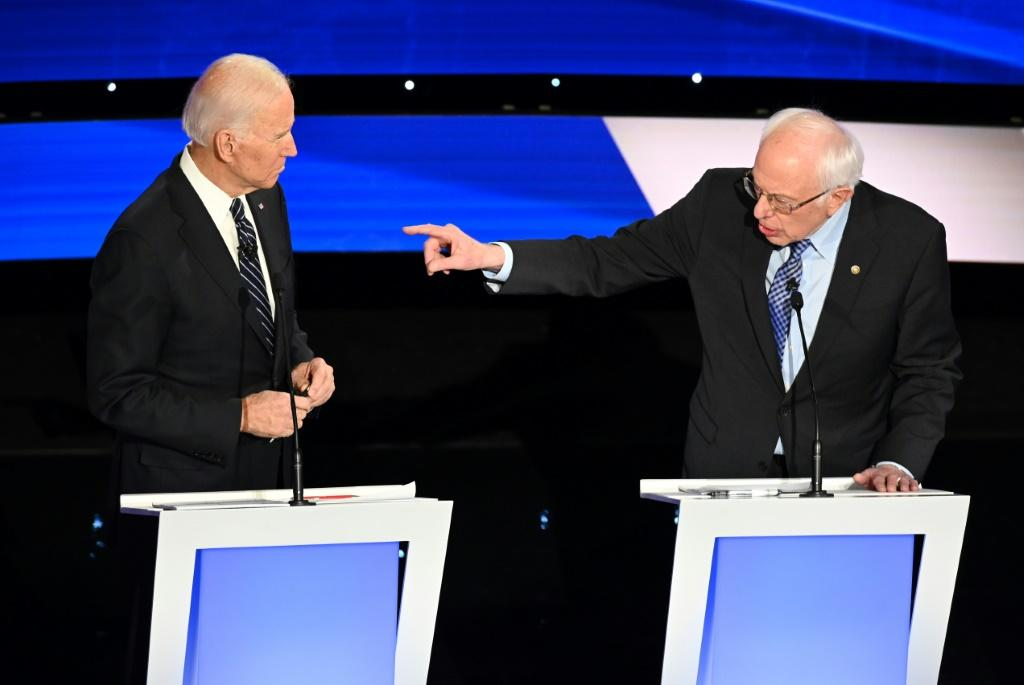 Former US Vice President Joe Biden (L) and Liberal Senator Bernie Sanders were two of the six candidates who clashed during the final Democratic presidential debate before Iowa begins the voting process on February 3, 2020