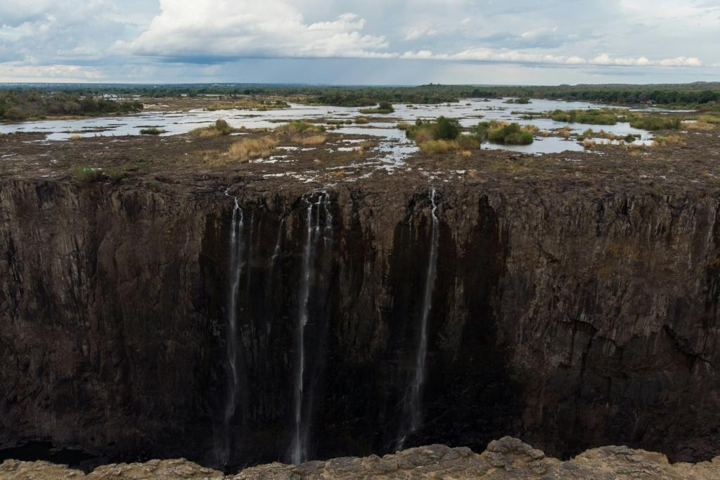 Drought in Zimbabwe reduced the mighty Victoria Falls to a relative trickle last month