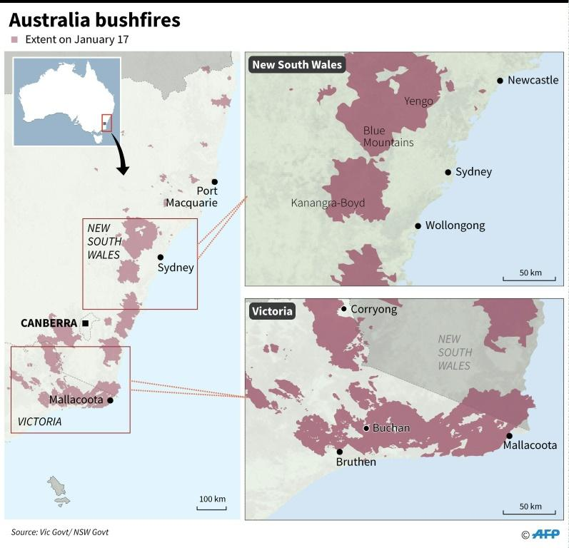 Maps showing the extent of bushfires in Australia's Victoria and New South Wales states on January 17.