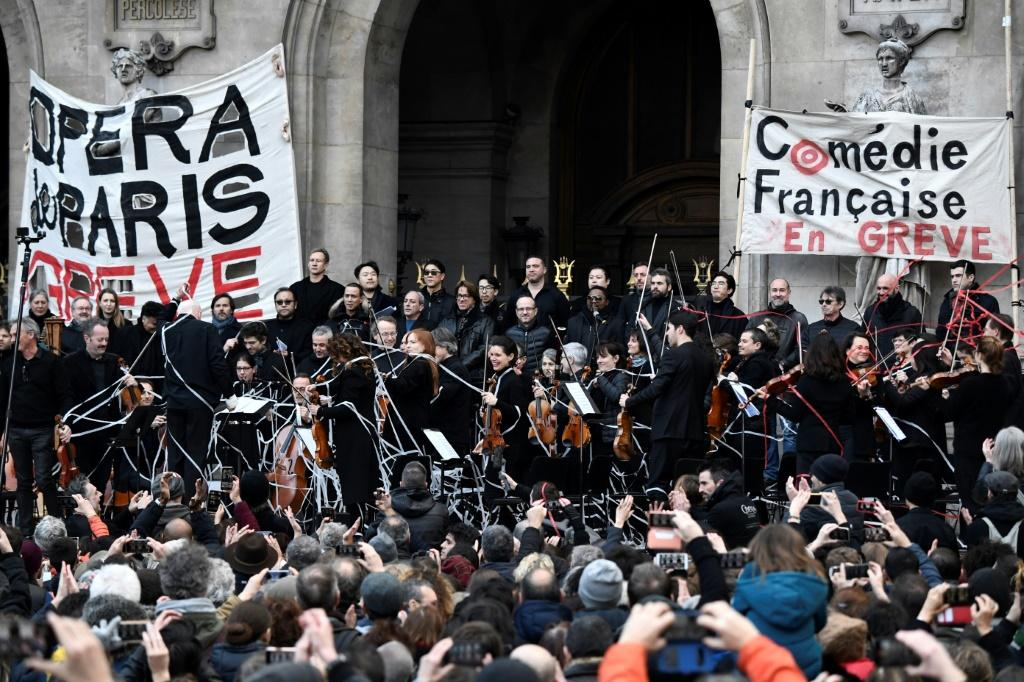 Musicians perform at the Paris Opera in support of the strike against President Emmanuel Macron's pension reforms.