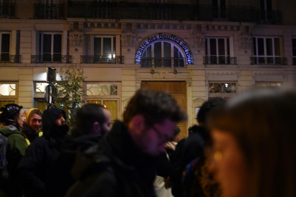 Security staff rushed French President Emmanuel Macron and his wife from a play at the Bouffes du Nord theatre when tipped-off protesters turned up