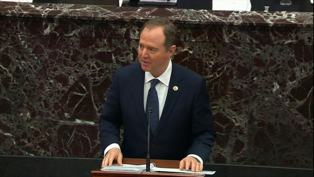 IMAGESDemocrats begin presenting their opening arguments at the historic impeachment trial of US President Donald Trump. Lead House impeachment manager, Adam Schiff, takes the podium on the floor of the Senate to make the case against President Trump. Dem