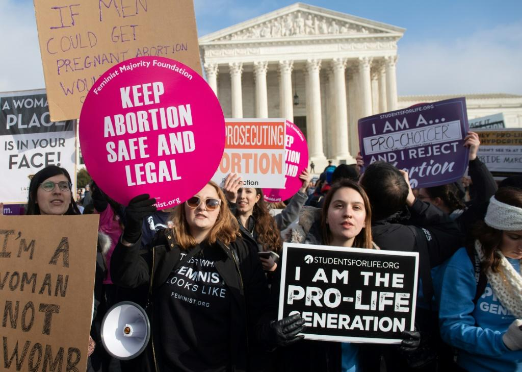 Anti-abortion supporters protest outside the US Supreme Court in 2019