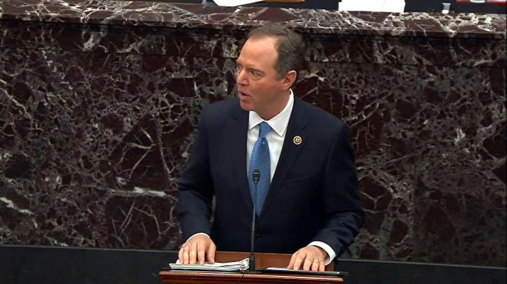 Chief Democratic prosecutor Adam Schiff makes the case for the removal from office of President Donald Trump on the Senate floor