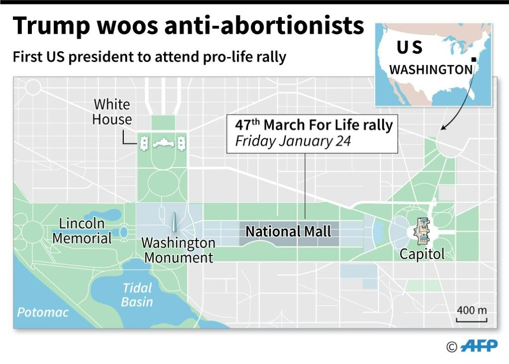 Map showing the National Mall in Washington, where the annual anti-abortion March for Life takes place onf January 24, with President Trump in attendance