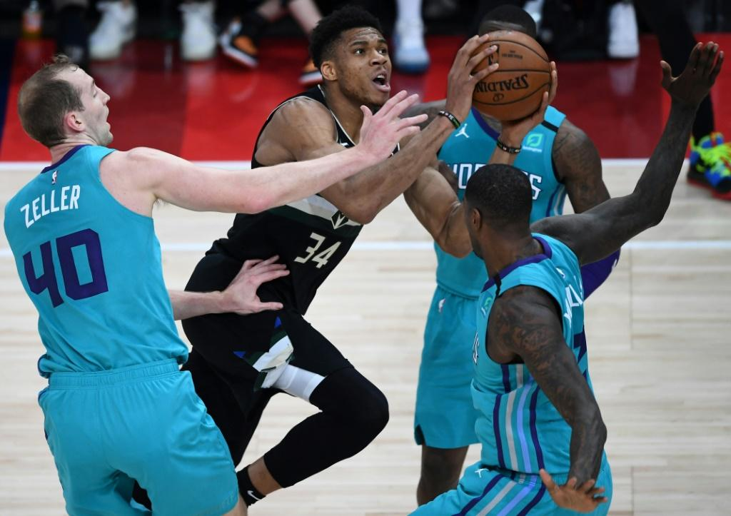 Milwaukee Bucks forward Giannis Antetokounmpo drives towards the basket in the first ever NBA regular season game in Paris