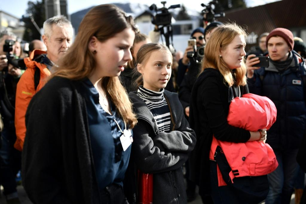 """Swedish climate activist Greta Thunberg marched in a """"Friday for future"""" youth demonstration in Davos on Friday on the sideline of the World Economic Forum (WEF) annual meeting"""