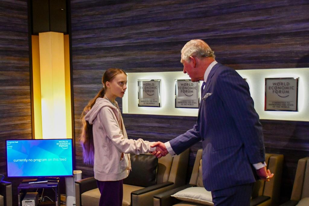 Trump may have given Thunberg a wide berth -- but she did get a royal handshake out of Prince Charles in Davos
