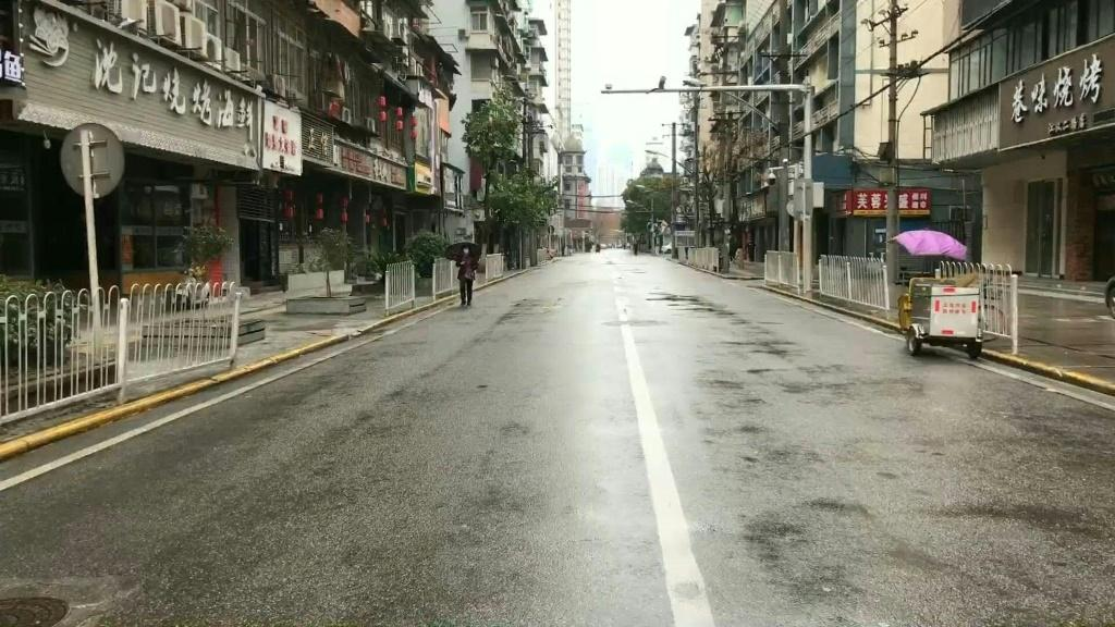 The normally bustling streets of Wuhan are deserted