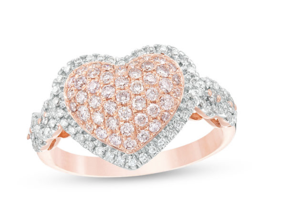 3/4 CT. T.W. Certified Pink and White Composite Diamond Heart Frame Ring in 14K Rose Gold (Fancy/I2)