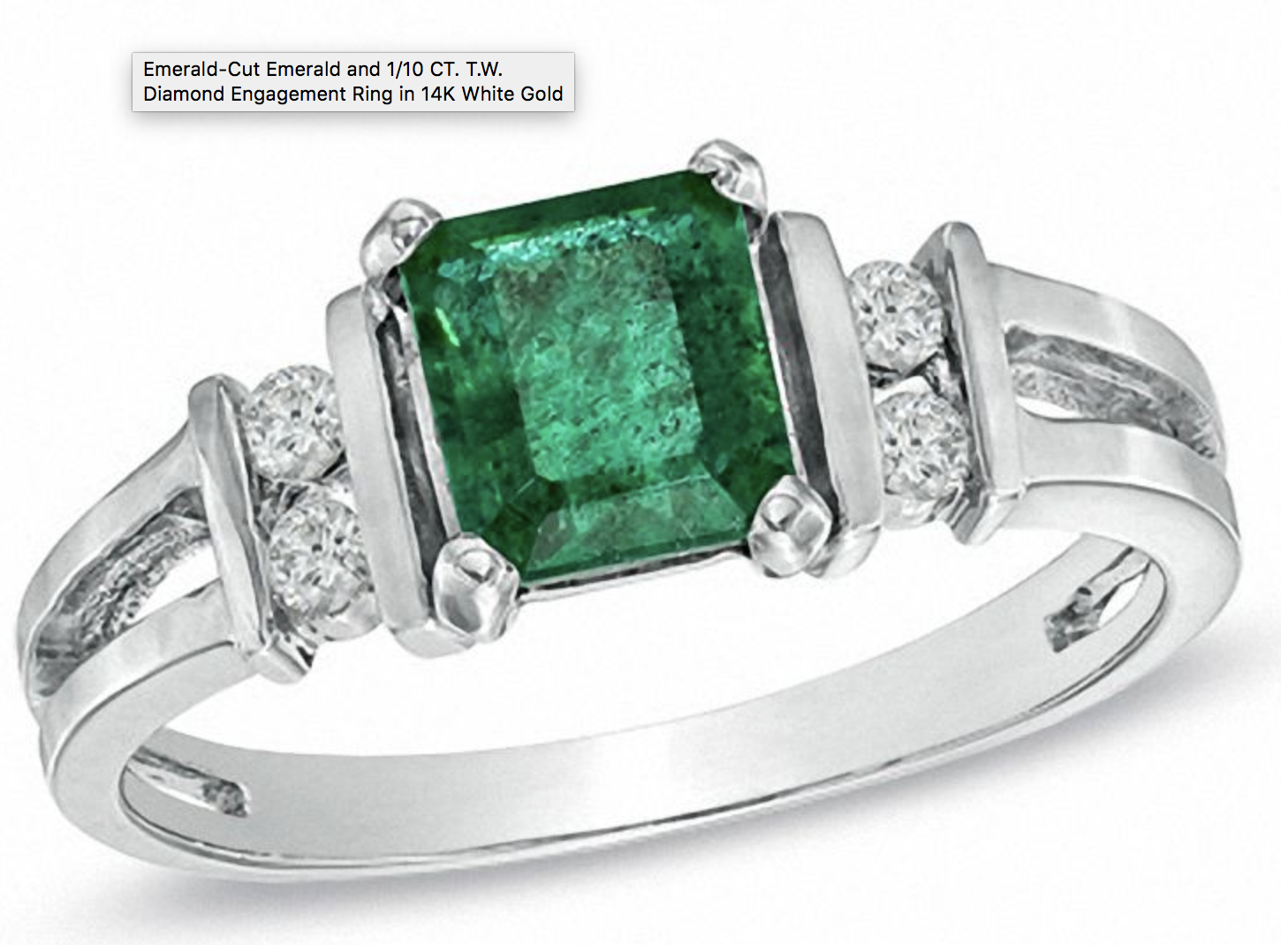 Emerald-Cut Emerald and 1/10 CT. T.W. Diamond Engagement Ring in 14K White Gold