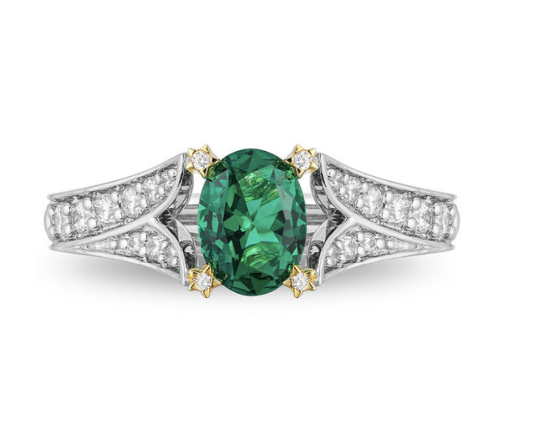 Enchanted Disney Tinker Bell Oval Green Topaz and 1/3 CT. T.W. Diamond Star Engagement Ring in 14K Two-Tone Gold
