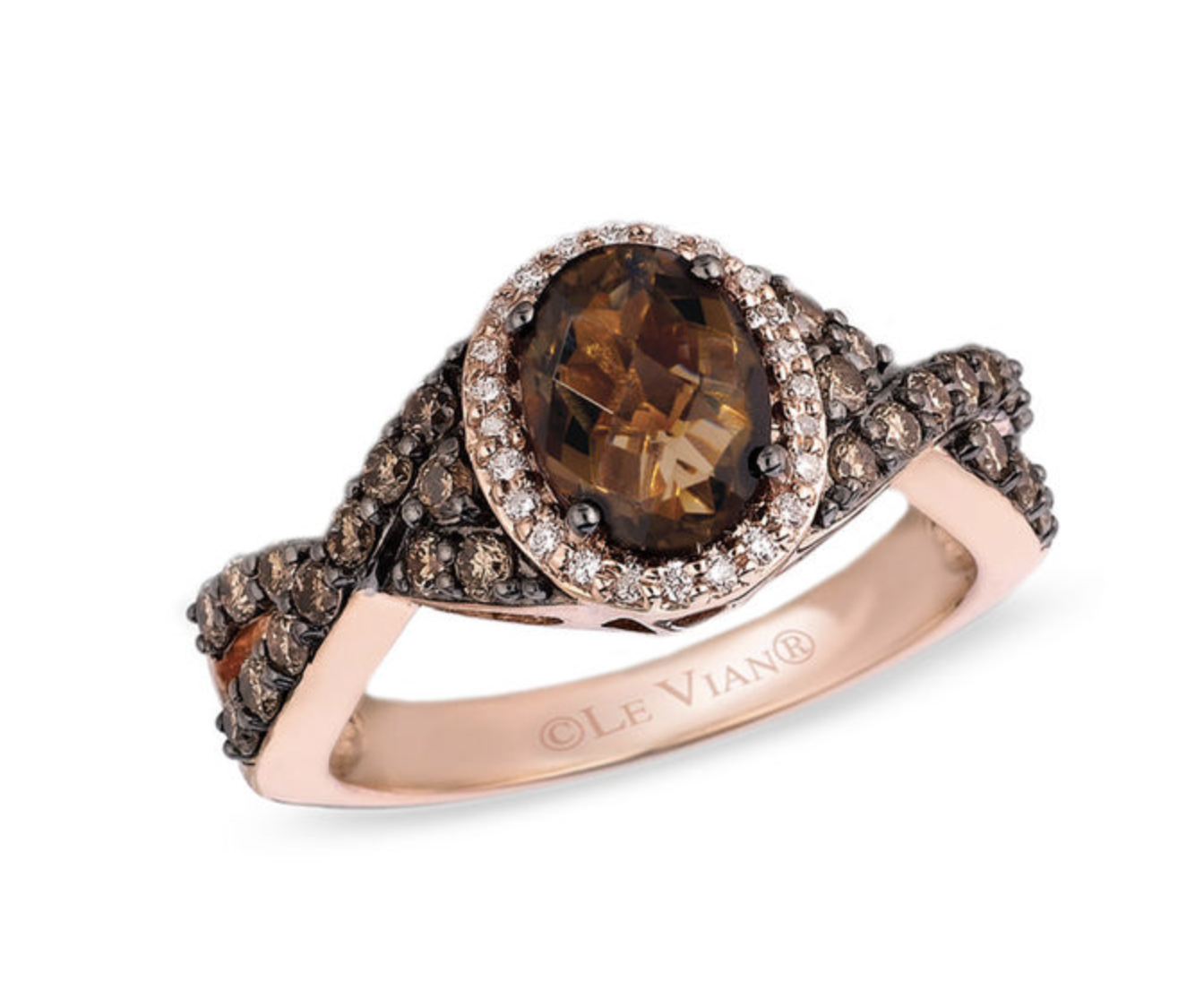 Le Vian® Chocolate Quartz™ and 5/8 CT. T.W. Diamond Ring in 14K Strawberry Gold®