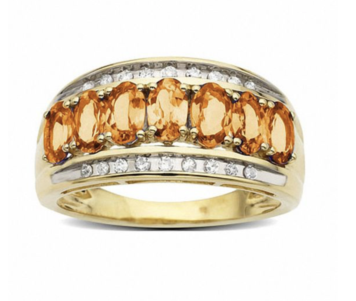 Orange Sapphire Ring in 14K Gold with Diamond Accents
