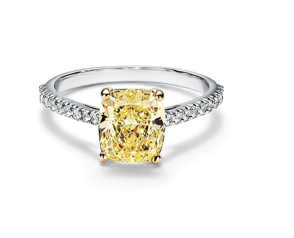 Tiffany Novo® Yellow Diamond Engagement Ring with a Pavé Diamond Platinum Band