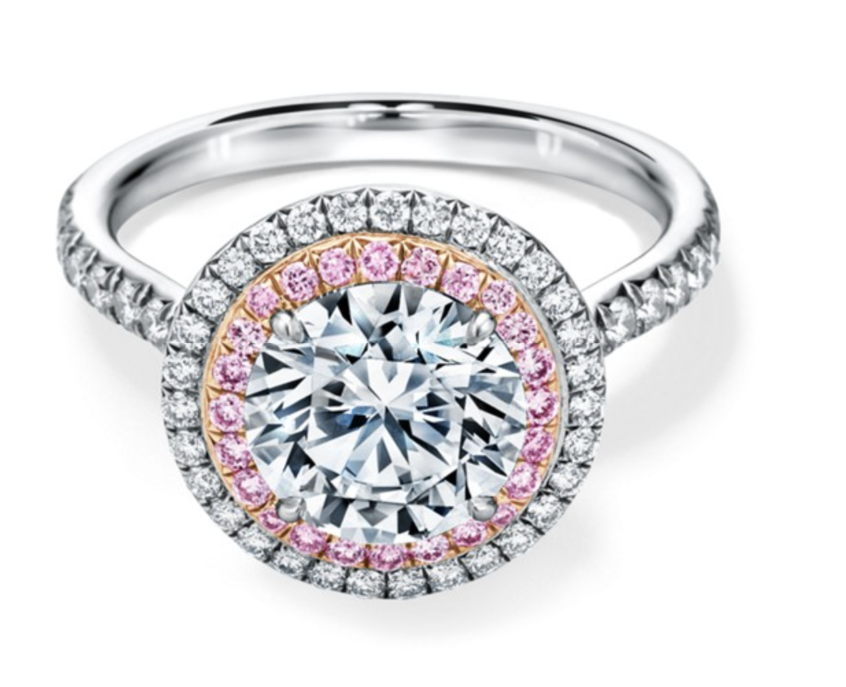 Tiffany Soleste® Round Brilliant Double Halo Engagement Ring with Pink Diamonds in Platinum