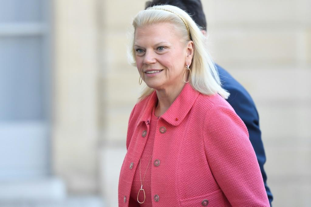 """IBM CEO Ginni Rometty is seen in May 2019 as she arrives at the Elysee Palace in Paris as part of """"Tech For Good"""" meetings"""
