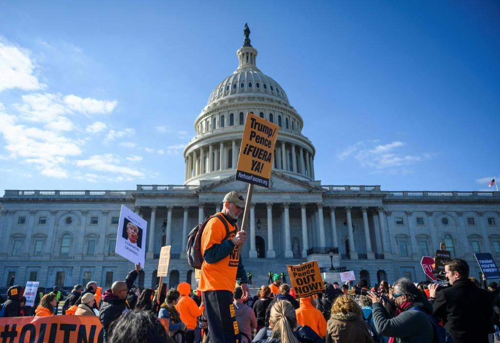 Protesters outside the US Capitol during the Senate impeachment trial of US President Donald Trump