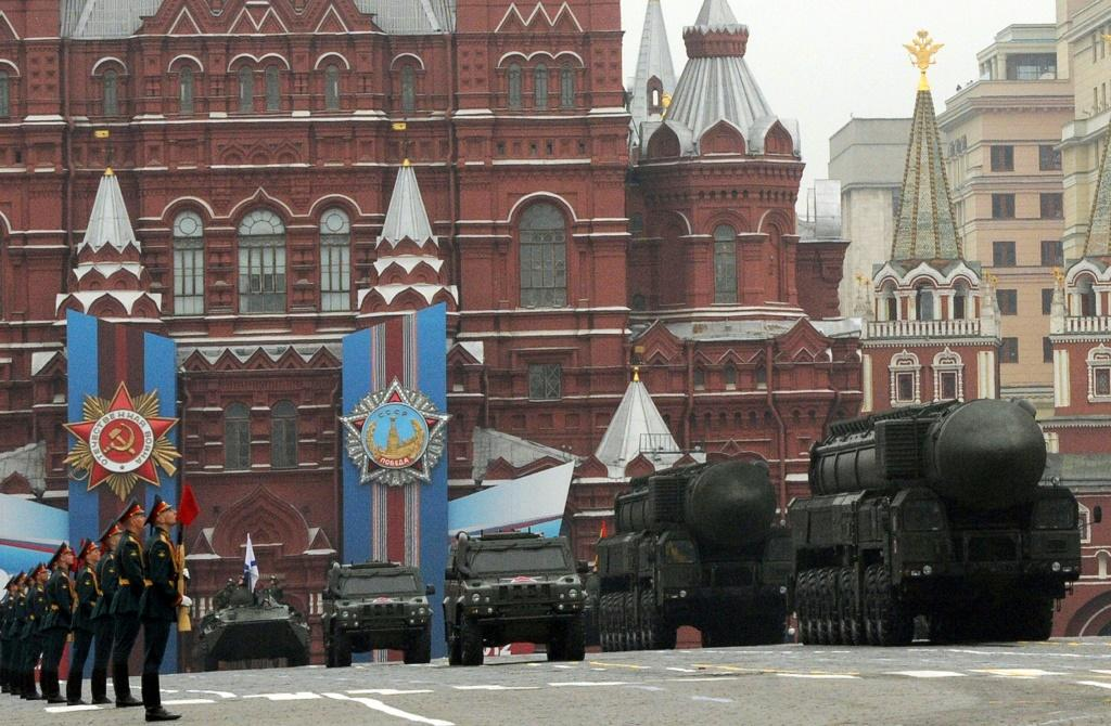 A column of Russia's Topol intercontinental ballistic missile launchers rolls at the Red Square in Moscow in 2012