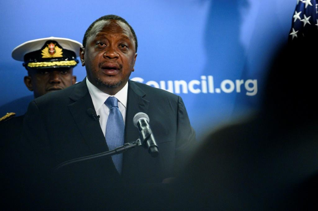 Kenyan President Uhuru Kenyatta speaks at the Atlantic Council in Washington