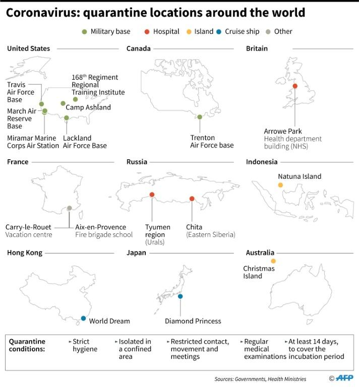 Map showing some of the different quarantine locations around the world for the new coronavirus