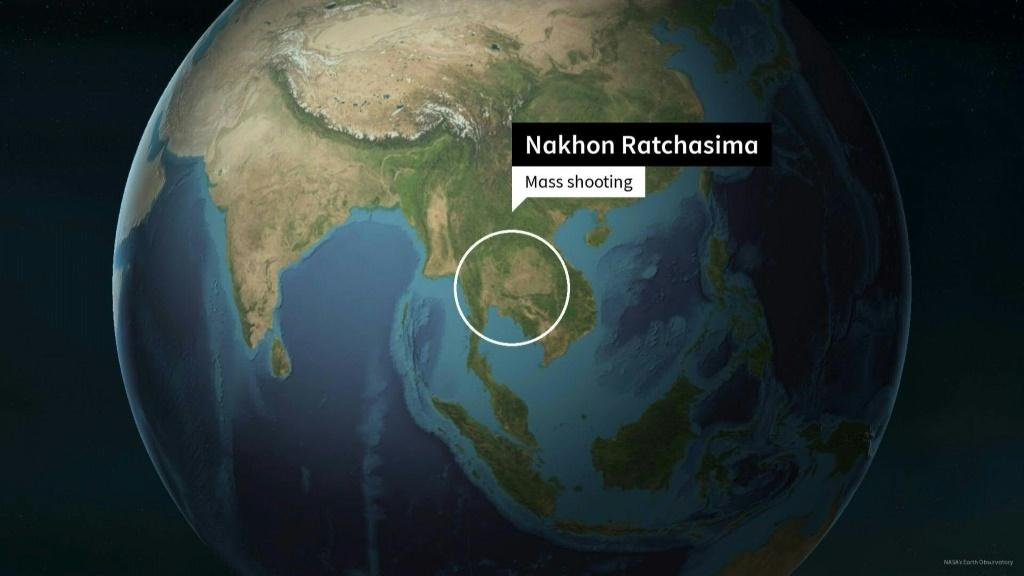 Animated map shows location of a mass shooting in northeastern Thailand
