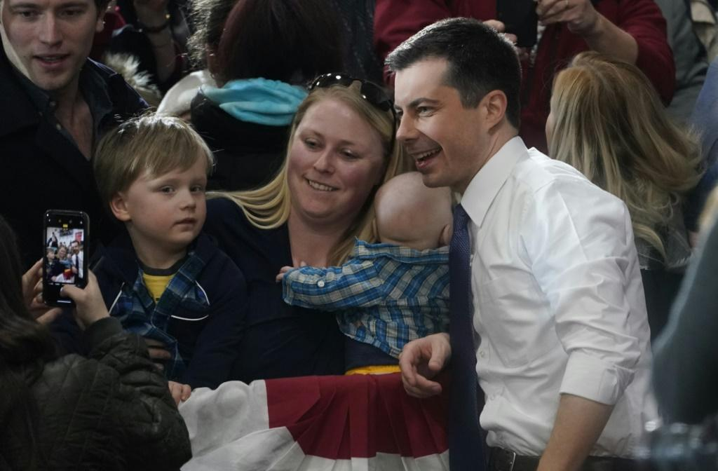"Former Indiana mayor Pete Buttigieg, pictured at a ""Get Out the Vote"" rally in Nashua, New Hampshire, is expecting a strong bounce in New Hampshire"