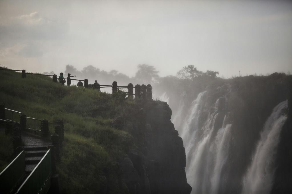 The Victoria Falls, pictured on January 23. A viral video last year that appeared to show that the falls had shrunk to a trickle was a distorsion of the truth say locals -- they have been badly hit by a slump in tourist numbers