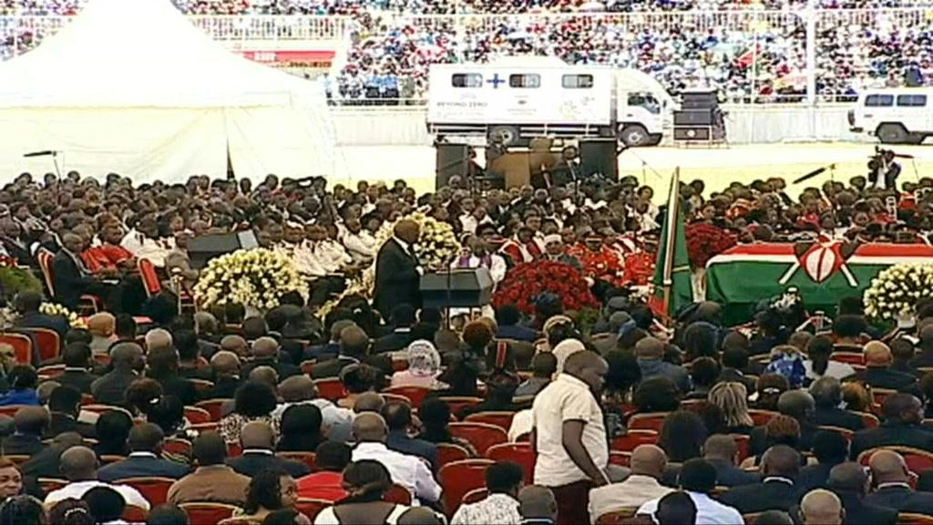 Thousands of Kenyans gathered for Moi's funeral