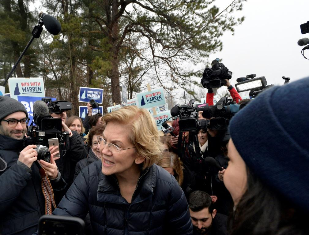 US presidential candidate Senator Elizabeth Warren greets supporters during the New Hampshire Primary at the Amherst Elementary School in Nashua, New Hampshire on February 11, 2020