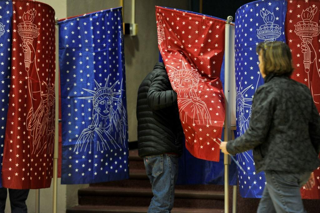Voters at the Northwest Elementary School polling station in Manchester, New Hampshire on February 11, 2020