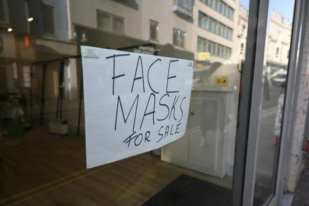 Still available: face masks at this shop in Brighton, southern England, as the businessman from Hove in East Sussex, who contracted the novel coronavirus was discharged from hospital