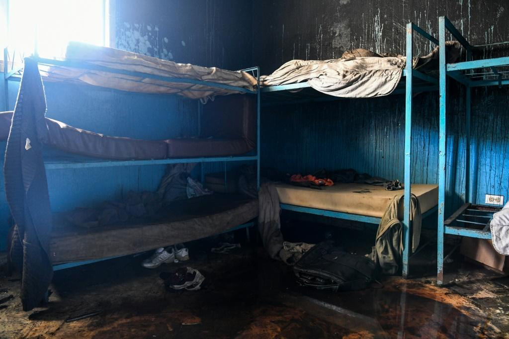 Fire damage is seen in a room inside the Orphanage of the Church of Bible Understanding