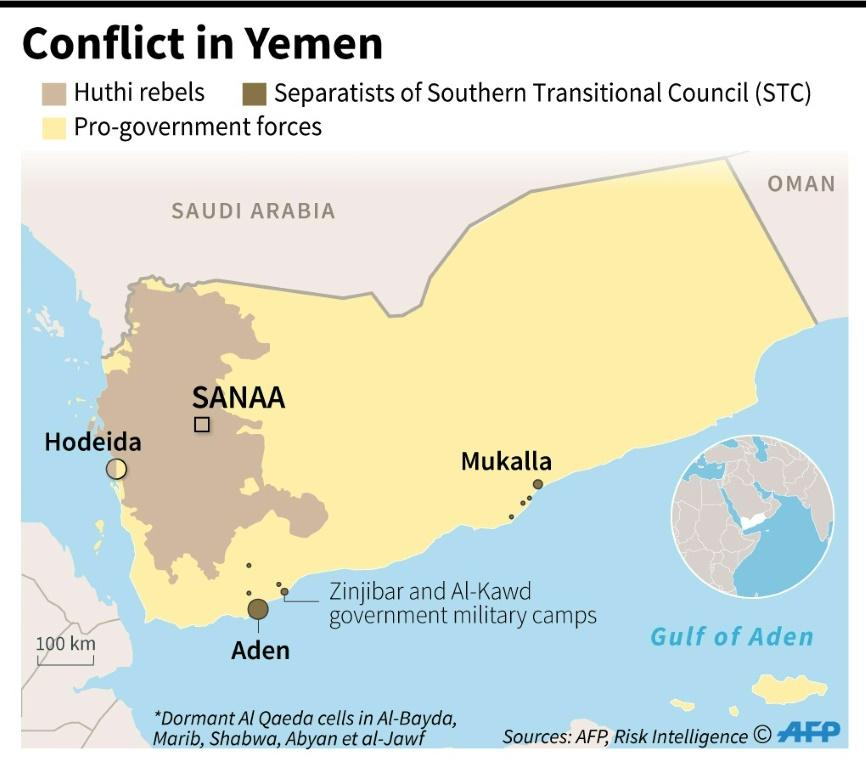 Map showing areas of territorial control in the Yemen conflict, as of February 13.