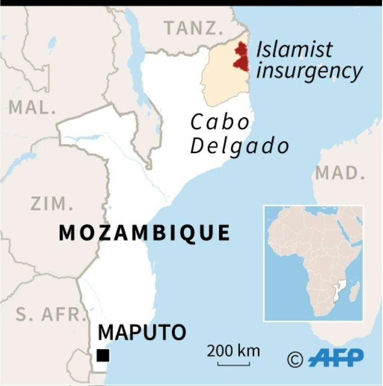 Map of Mozambique locating districts of Cabo Delgado province affected by an Islamist insurgency