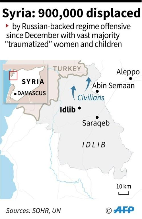 Map of Syria showing northwestern Idlib province where the Russian-backed regime offensive and bombardment has displaced nearly 900,000 people since December.