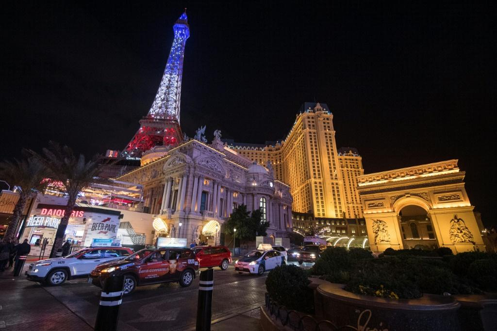 View of the Paris Las Vegas hotel which is the venue for Wednesday's Democratic presidential debate
