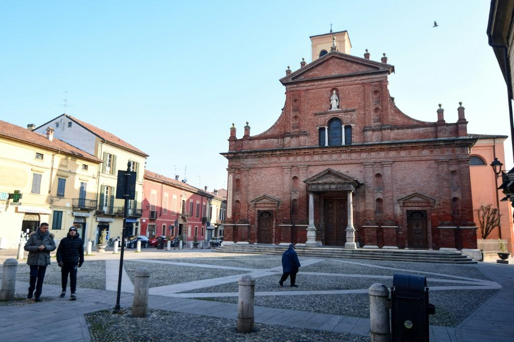 The deserted square outside San Biagio church in Codogno, southeast of Milan after a flurry of coronavirus cases were reported in northern Italy.