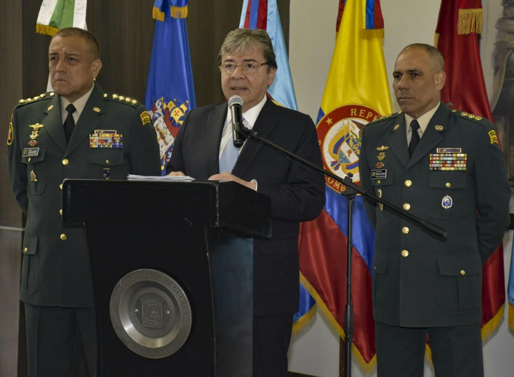 Defence Minister Carlos Holmes Trujillo speaking during a press conference in Bogota on January 13, 2019