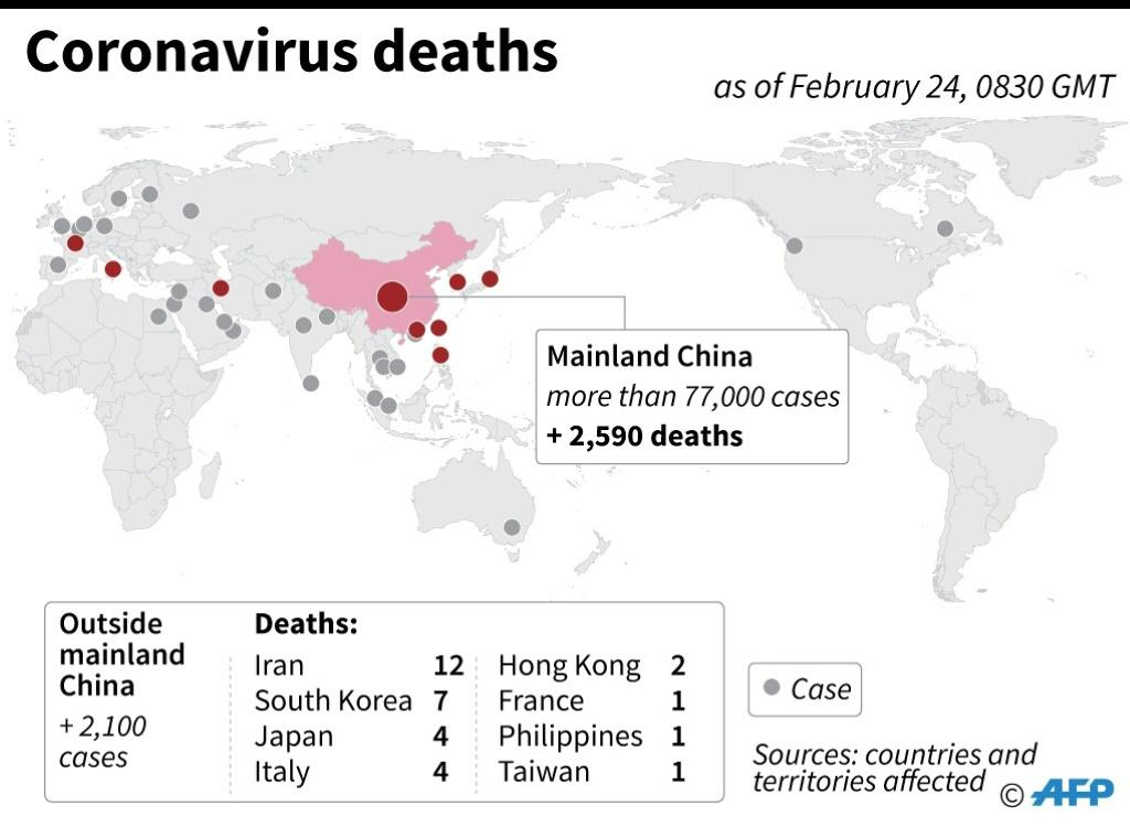 Map locating cases and fatalities from the coronavirus around the world