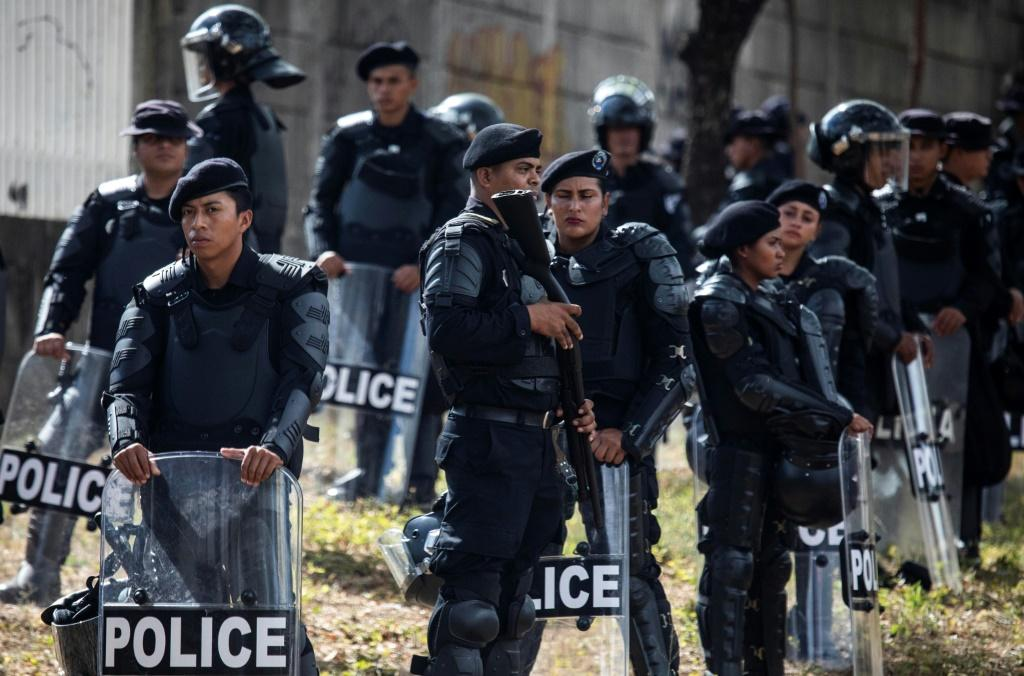 Riot police deploy in Managua after Nicaraguan opposition parties called for a protest against the government of President Daniel Ortega