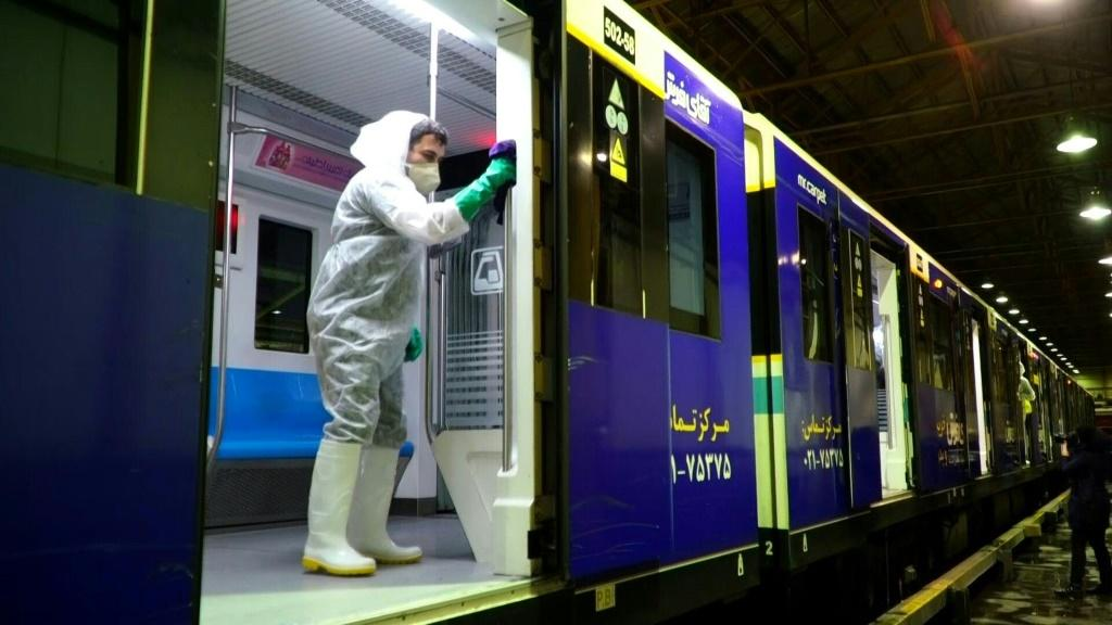 Workers are disinfecting buses and subway trains in Iran where more than a dozen people have died from the coronavirus outbreak. Duration: 00:43