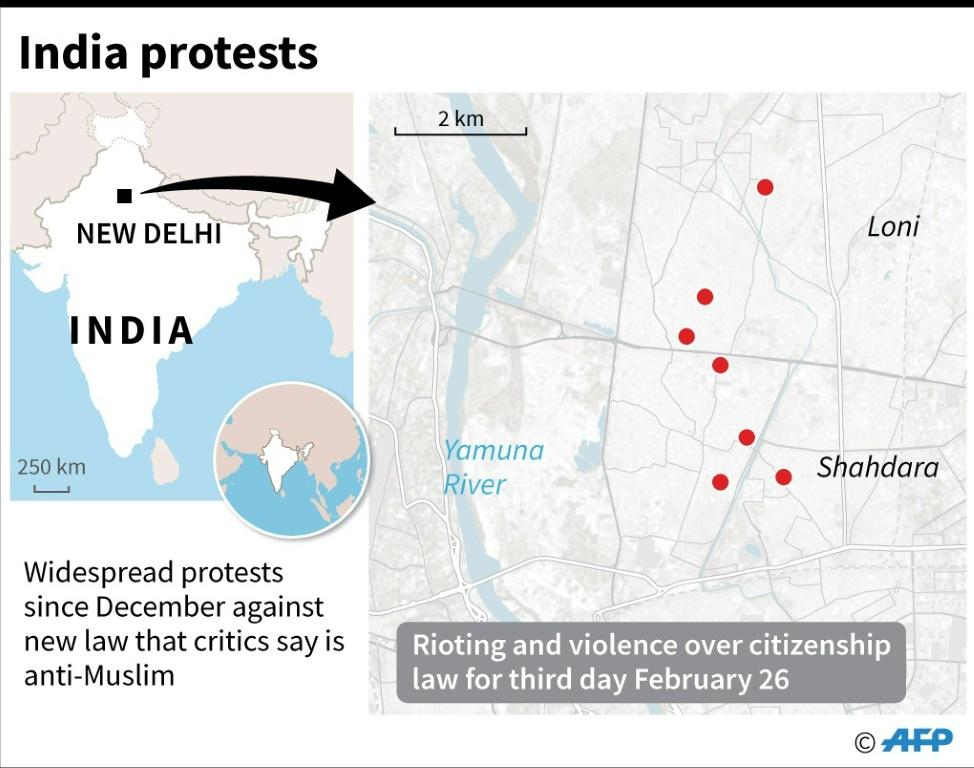 Map of India showing New Delhi where at least 20 people have been killed after several days of rioting