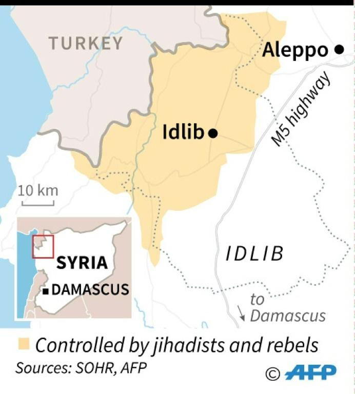 Map of Syria's Idlib province, where Turkish soldiers have been killed in an air strike blamed on Damascus