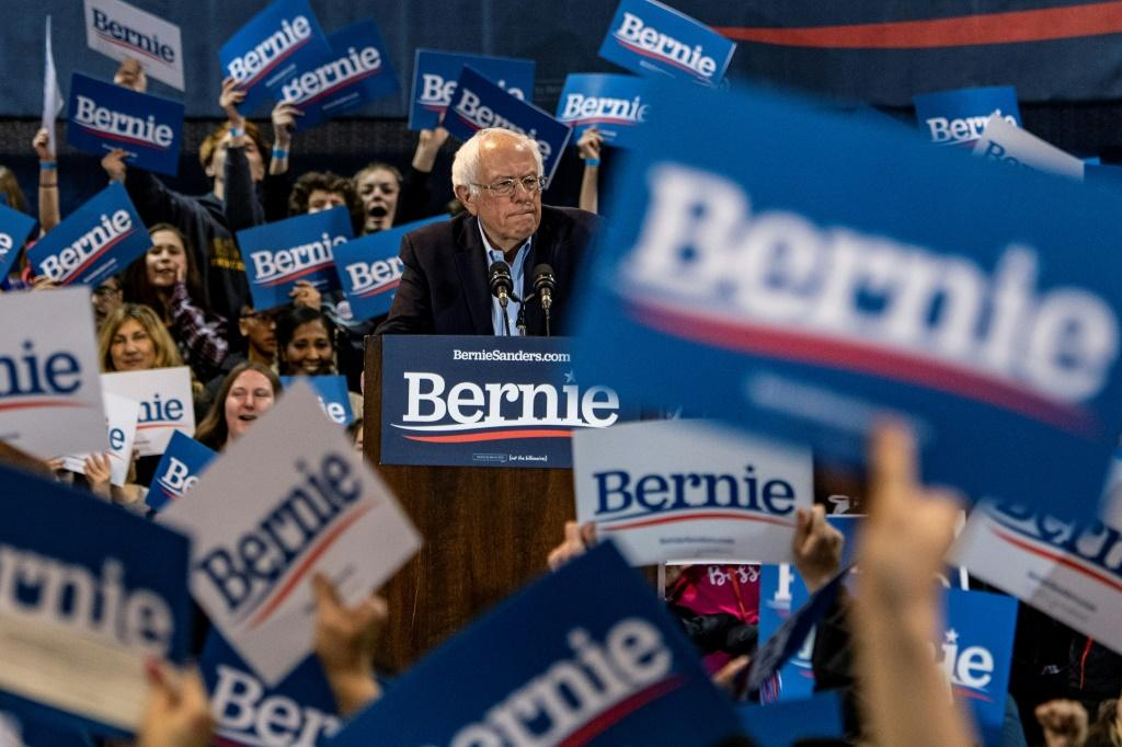 Democratic White House hopeful Vermont Senator Bernie Sanders speaks during a campaign rally in Virginia, a Super Tuesday state