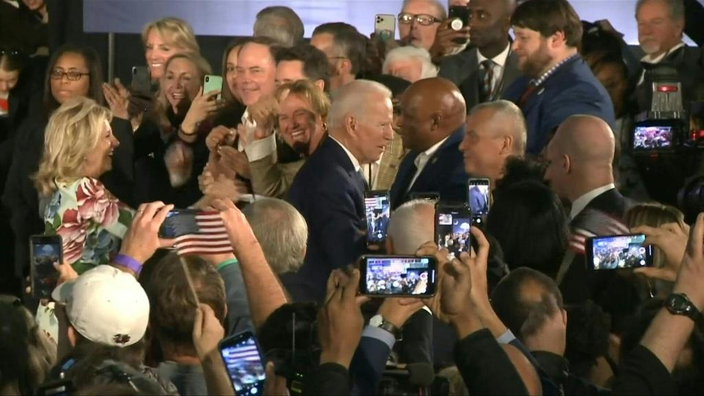 """If democrats nominate me, I believe we can beat Donald Trump,"""" former Vice President Joe Biden tells a crowd of supporters as he celebrates, with his wife and his daughter, his crucial win in South Carolina. With this victory, the 77-year-old candidate r"""